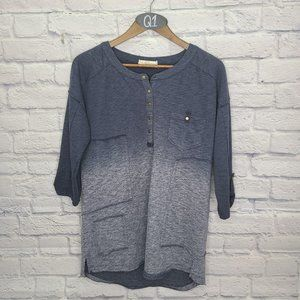 Gilded Intent Navy Ombre 3/4 Sleeve Top